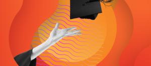 Hand throwing graduation cap