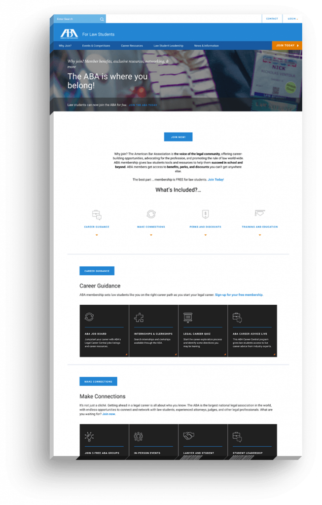 ABA Website Development by Clique Studios, LLC