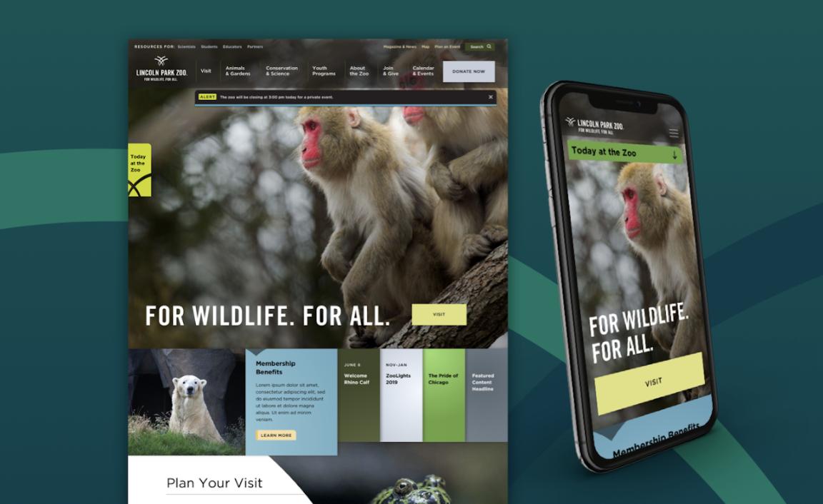 screenshot of lincoln park zoo's homepage
