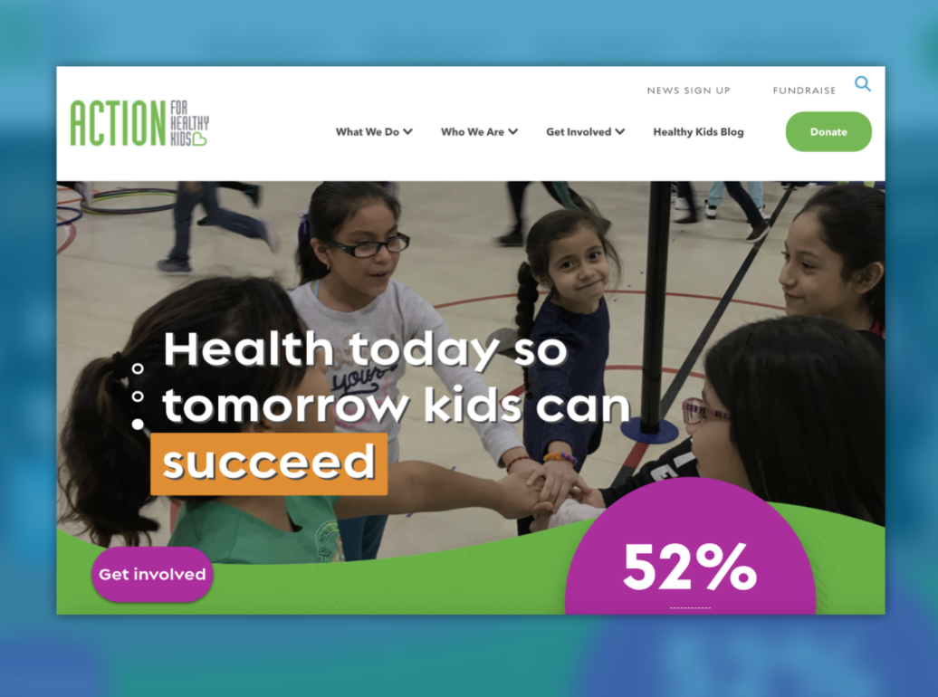 screenshot of action for healthy kids homepage
