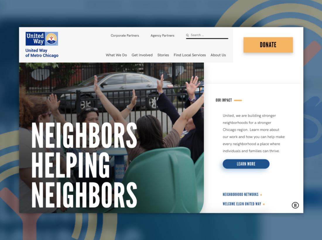 screenshot of united way homepage
