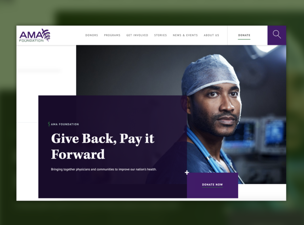 screenshot of ama foundation homepage