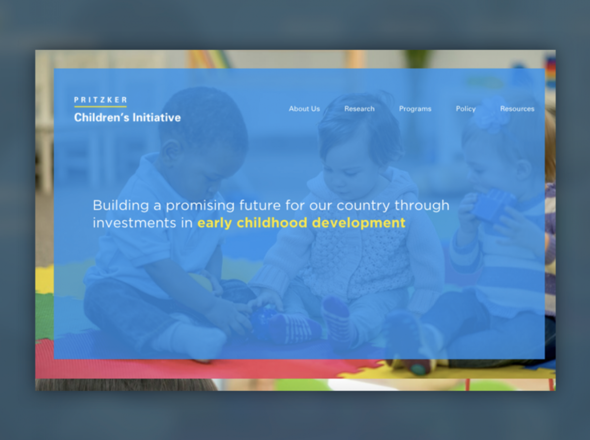 screenshot of Pritzker Children's Initiative homepage