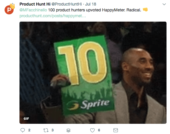 Twitter, Product Hunt about HappyMeter