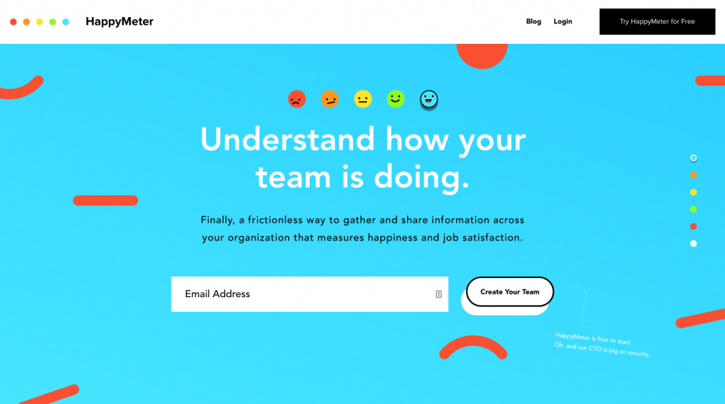 HappyMeter, an employee engagement tool, Product Hunt landing page