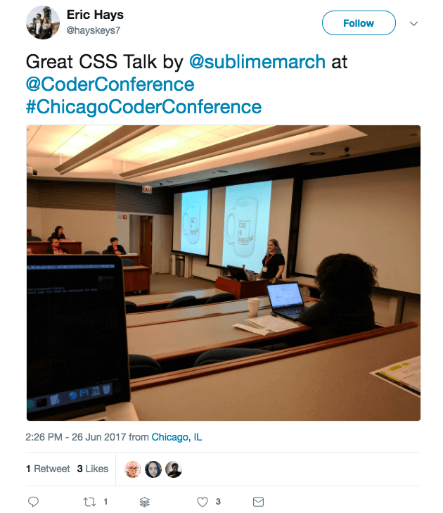 """Tweet with text """"Great CSS Talk by @sublimemarch at @coderconference"""""""