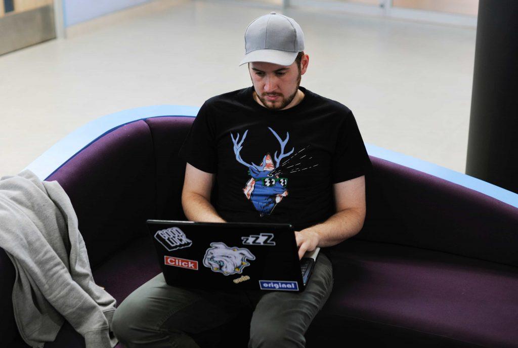 Developer working on computer