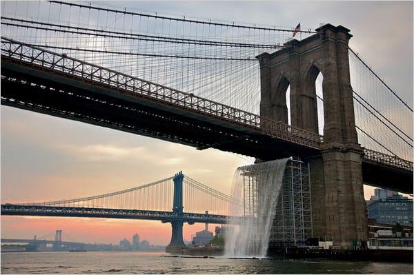 New York City public art installation waterfalls under Brooklyn bridge