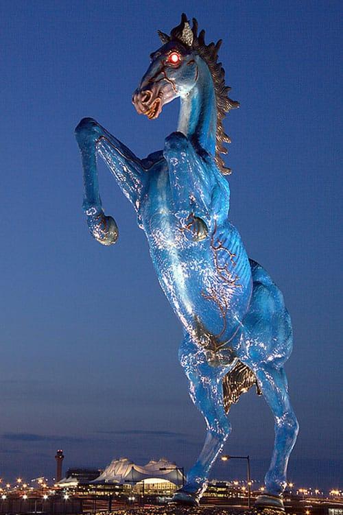 Blue Mustang sculpture Denver public art