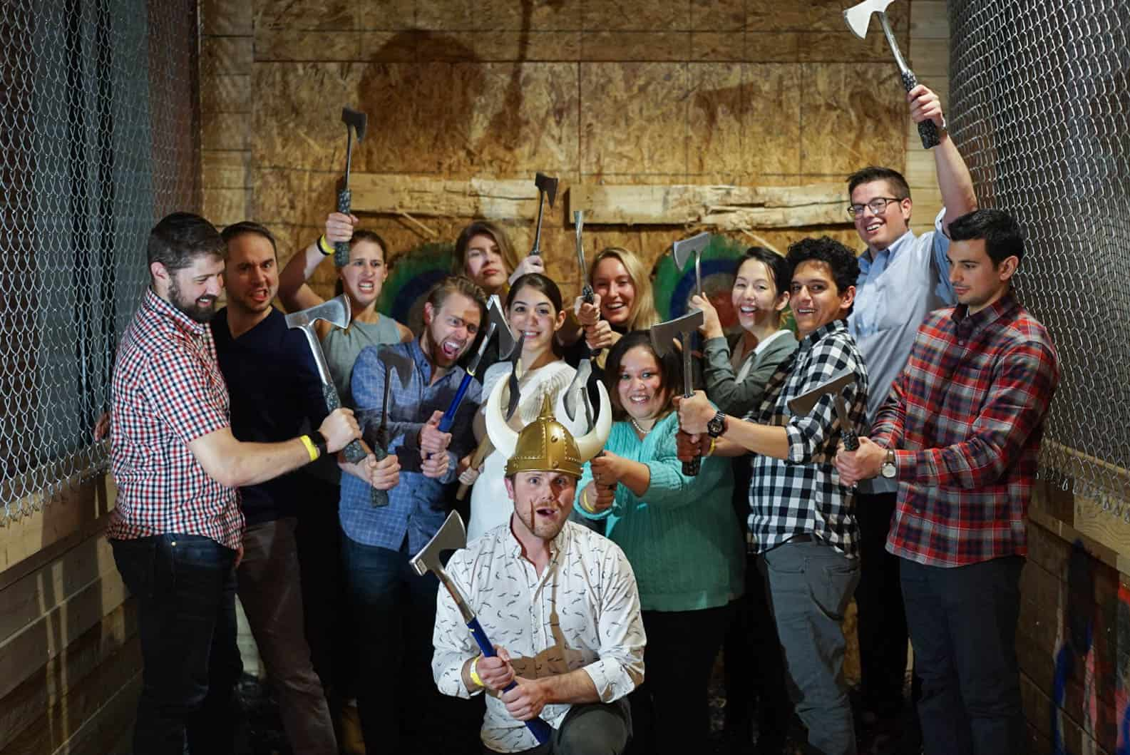 Clique team at axe throwing