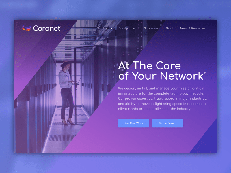 Coranet homepage design