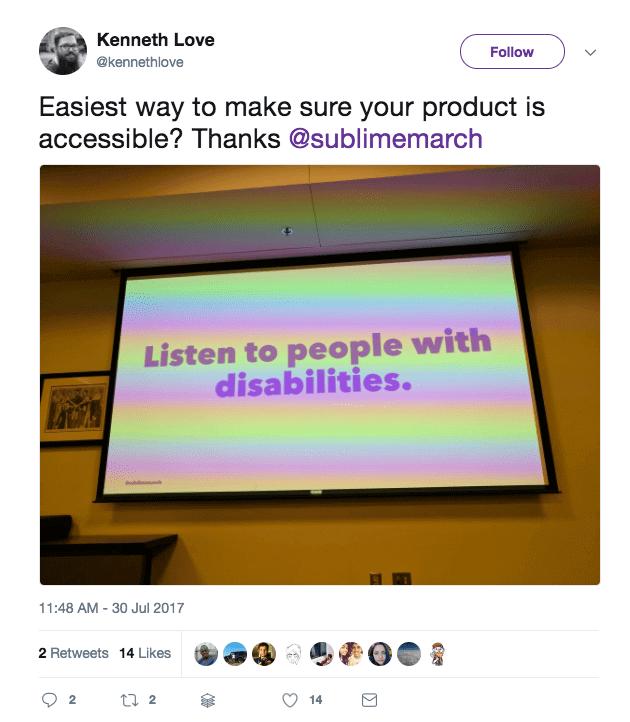Tweet showcasing a presentation by Fen, a developer