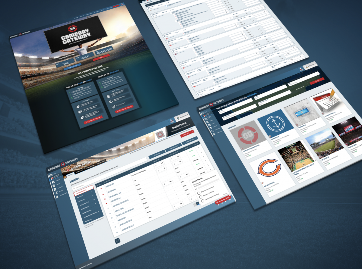 screenshot of several pages of GameDay's website