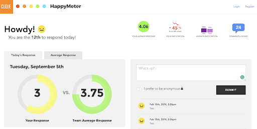Dashboard view of application