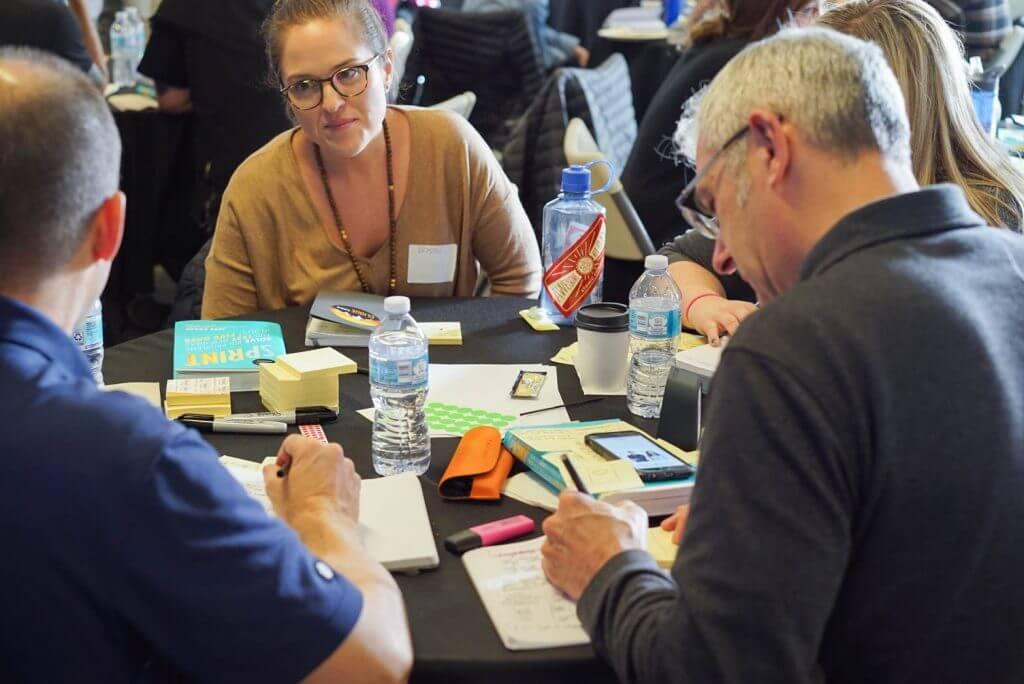 Team working together at workshop