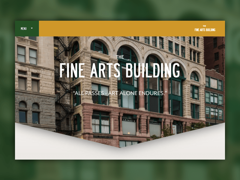 Fine Arts Building Chicago new real estate website design