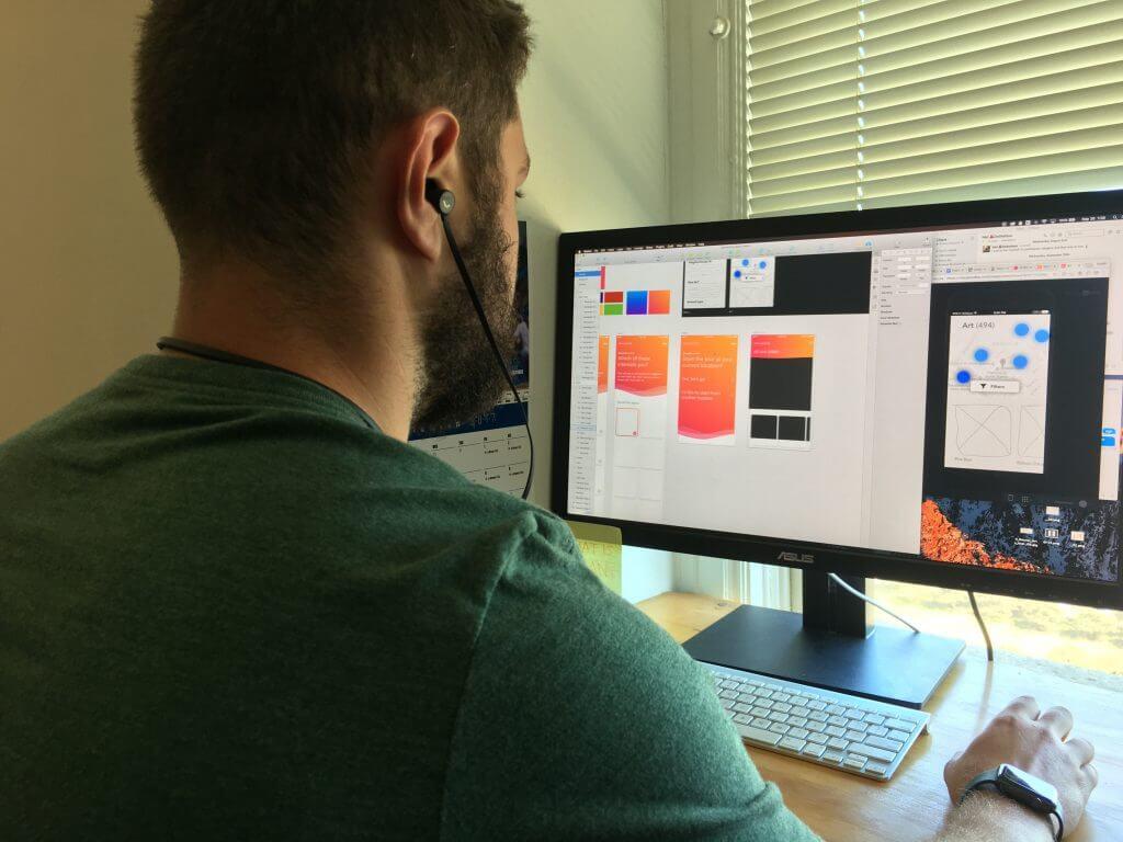 Designer in front of computer
