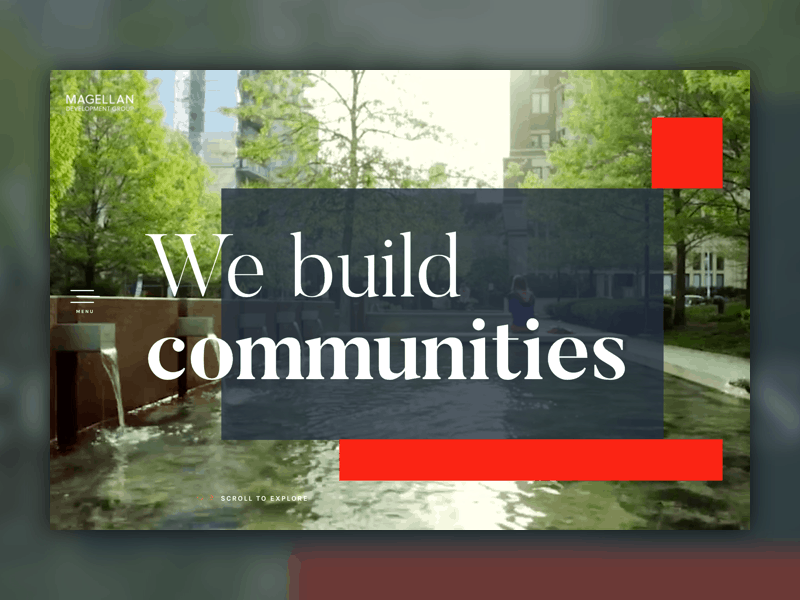 "Screen shot of Magellan's new website homepage that says ""We build communities"""