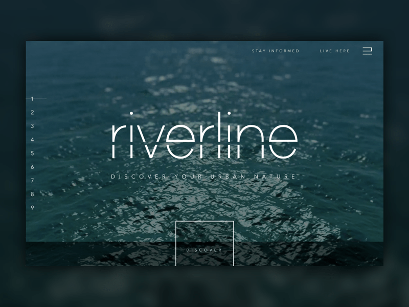 "Screen shot of Riverline's website homepage that says ""Riverline - Discover Your Urban Nature"""