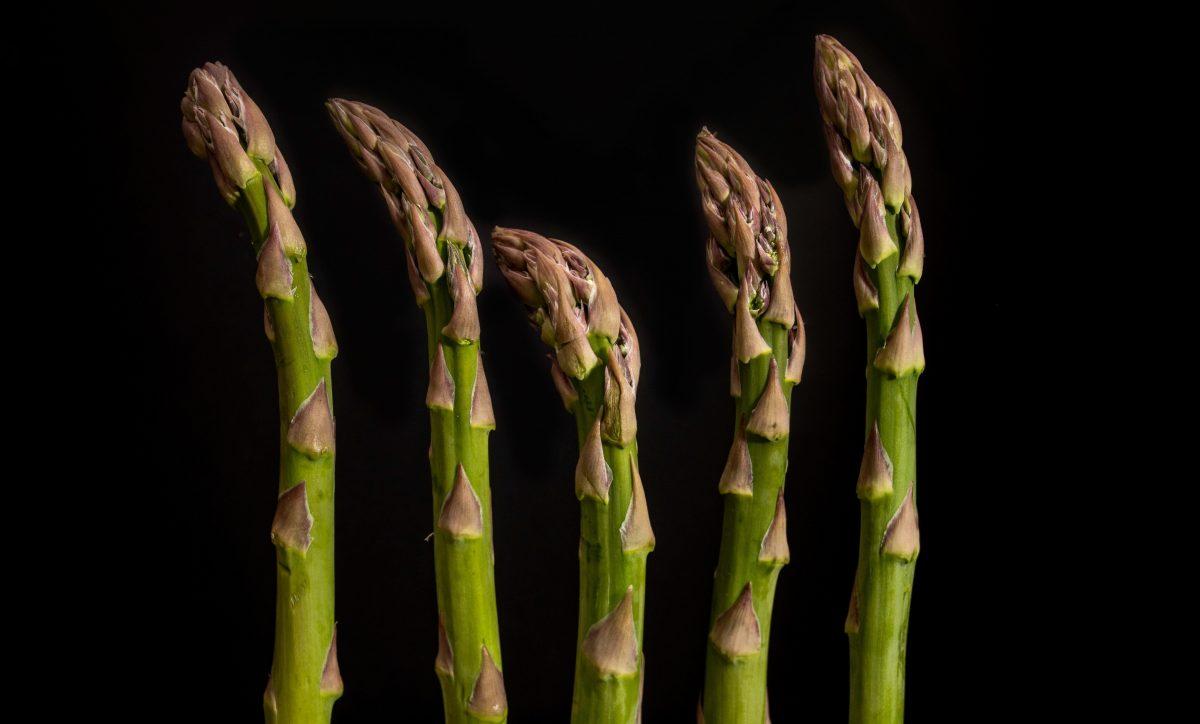 five stalks of asparagus