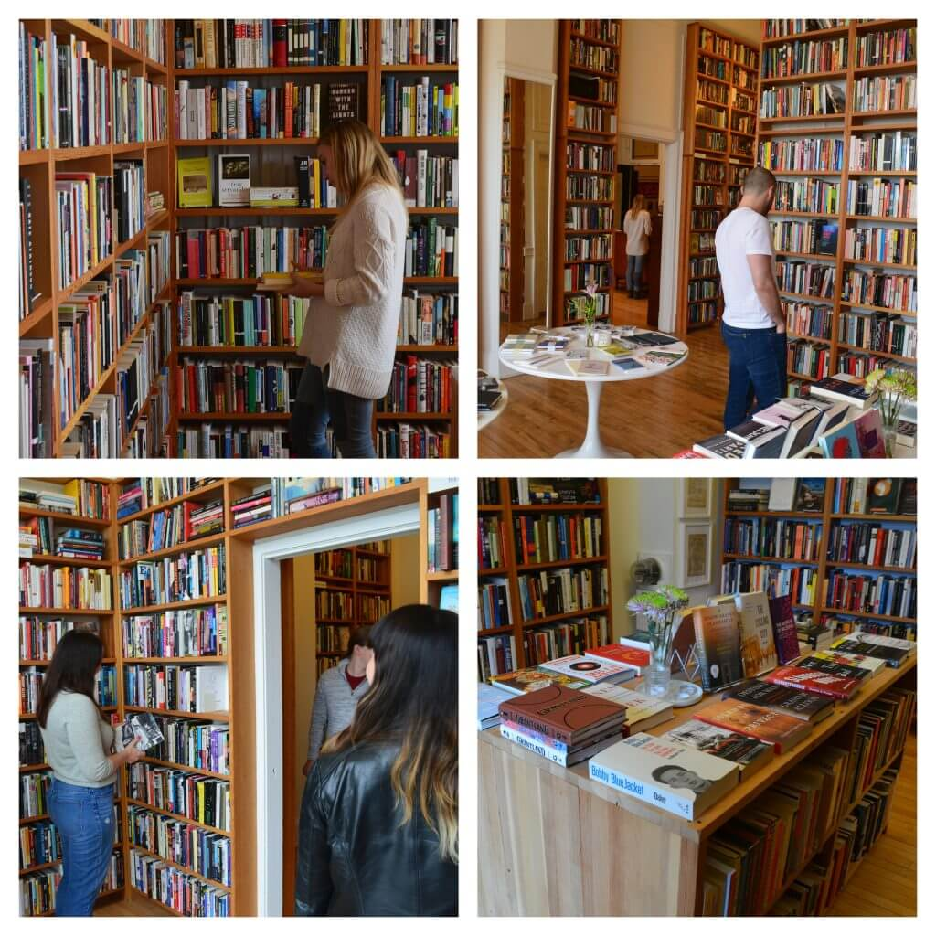collage candid photos of Clique team at the book store