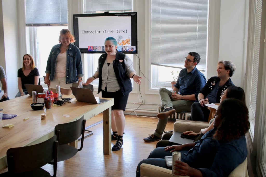 developers Steph and Carly lead a First Fridays meeting