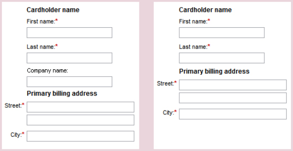 credit card form field