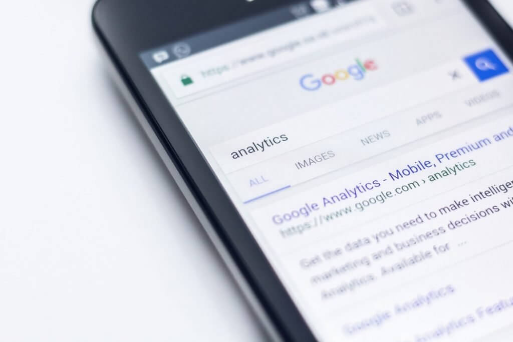 phone with a google search analytics