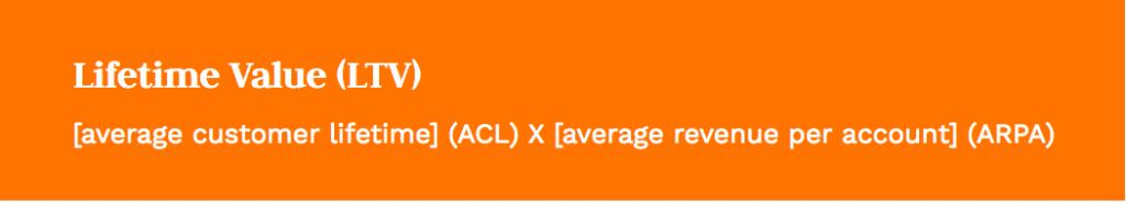 Formula: average customer lifetime (ACL) X average revenue per account (ARPA)