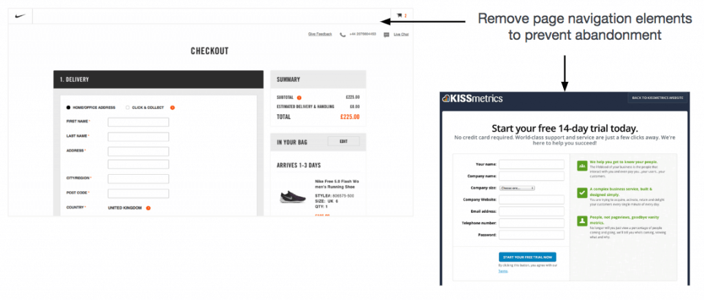 landing pages with and without banner navigation