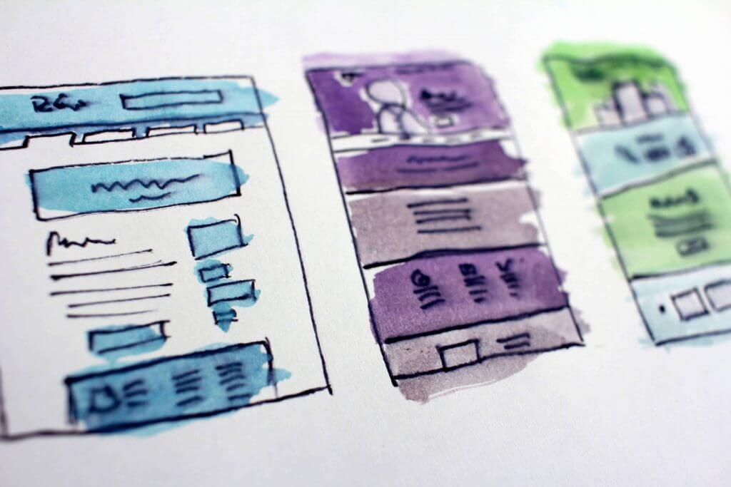 website sketch outline with colors