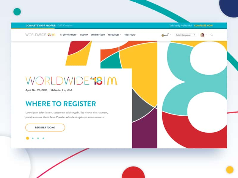 screenshot of McDonald's 2018 WorldWide Convention website