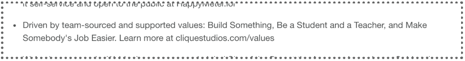 Screenshot of section of job listing with Clique's core values