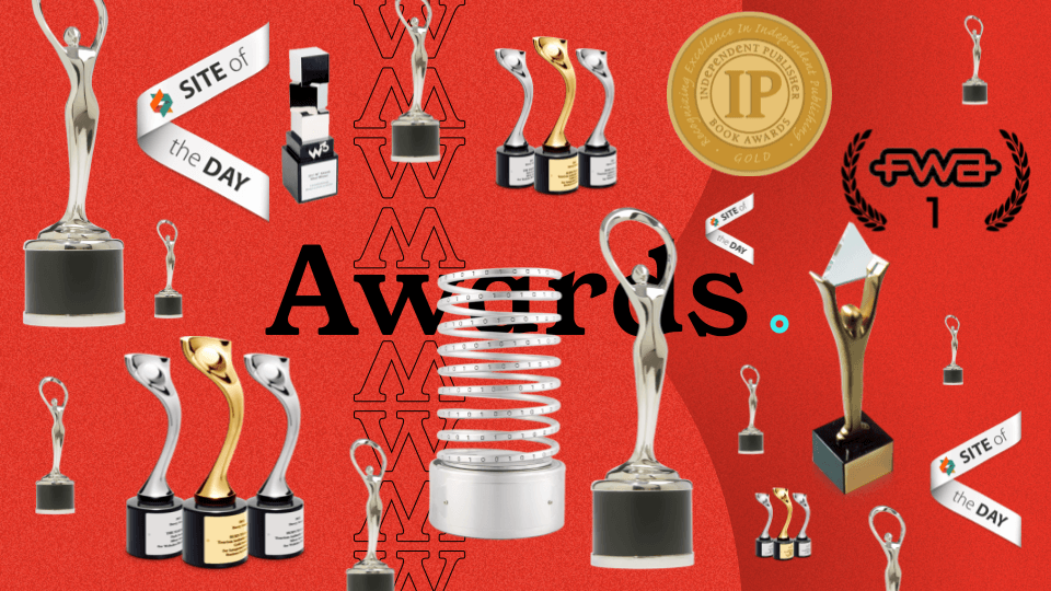 collection of awards on a page