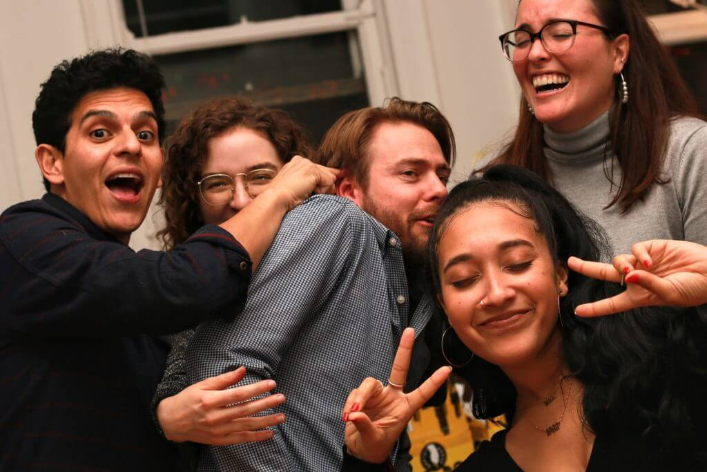 group having fun posing for a photo