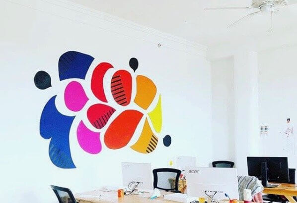 colorful mural in an office