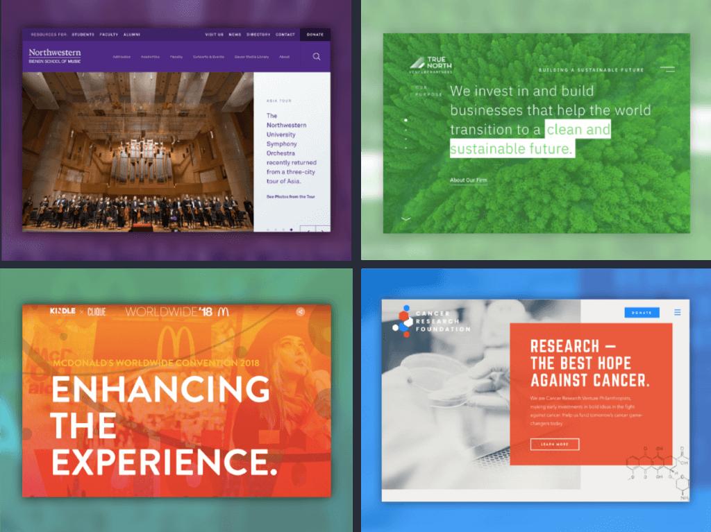 four website screen shots