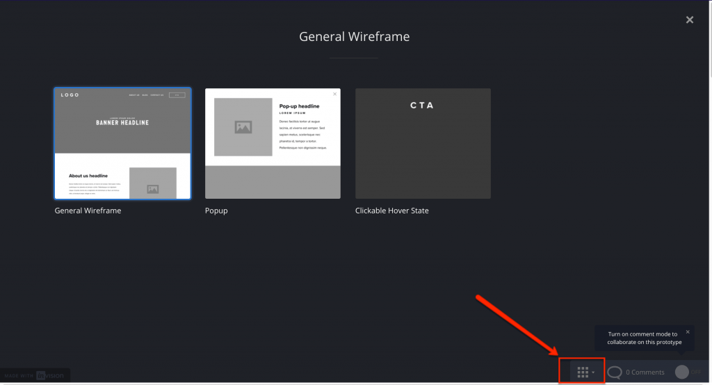 Screenshot of all wireframes in an Invision project