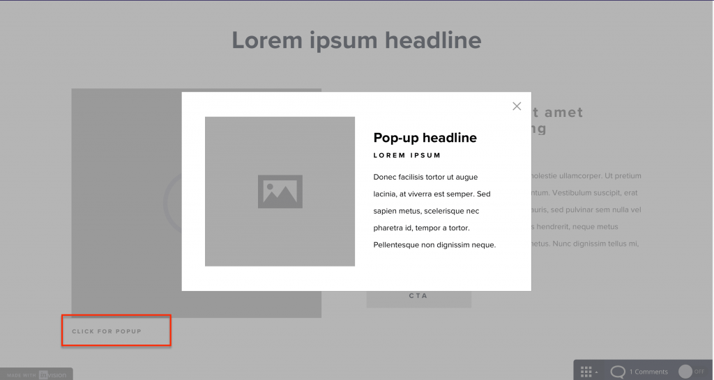 Screenshot of wireframe with a pop-up open