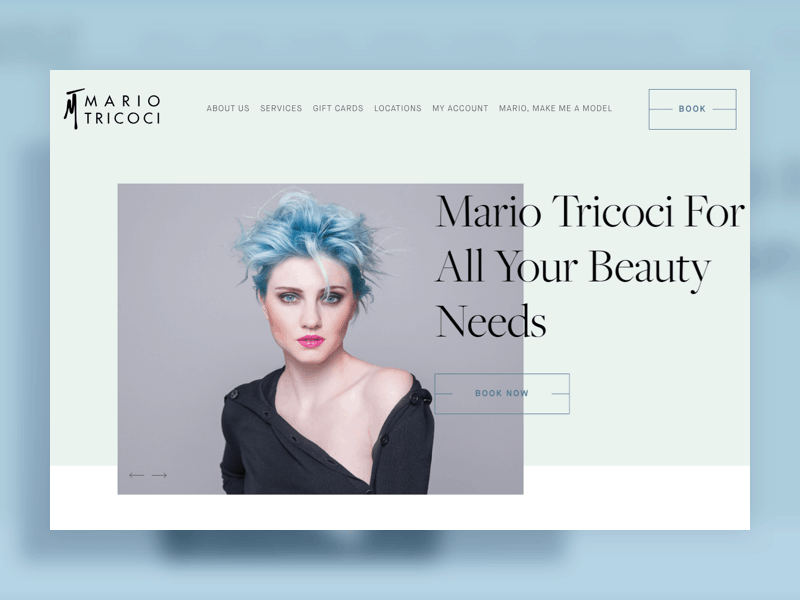 "Screenshot of website homepage for Mario Tricoci, with tagline ""for all your beauty needs"""