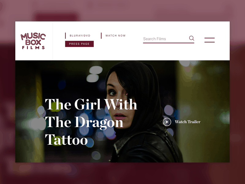 """Screenshot of Music Box Films' website homepage that shows a film, """"The Girl With The Dragon Tattoo"""""""