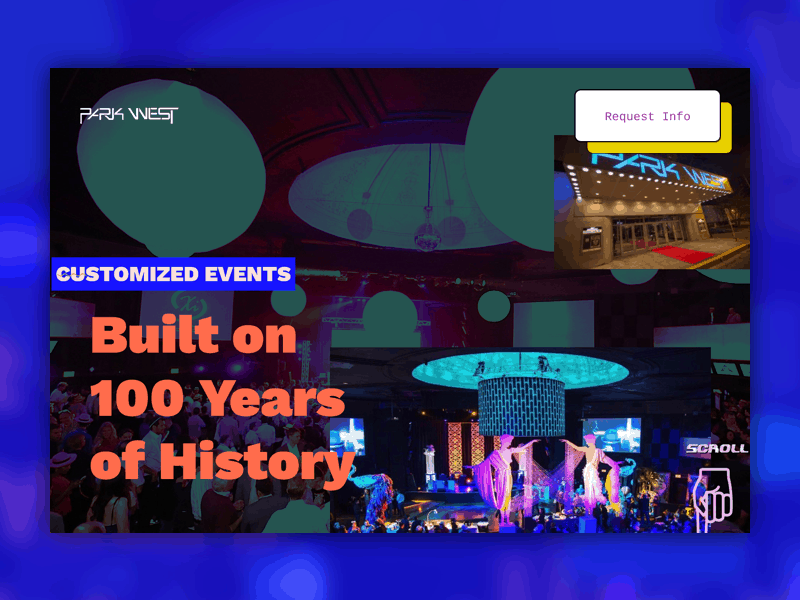 """Screenshot of Park West's website homepage that says """"Built on 100 Years of History"""""""