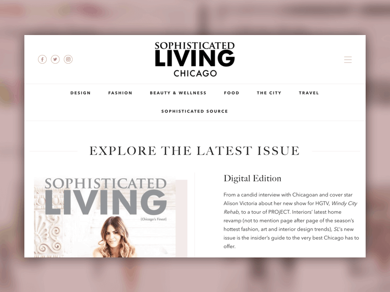 Homepage of Sophisticated Living