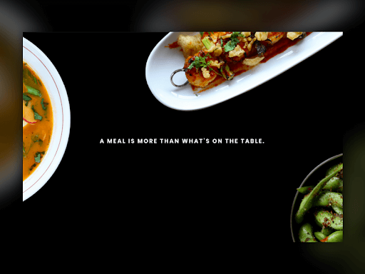 "Cornerstone homepage saying ""a meal is more than what's on the table"""