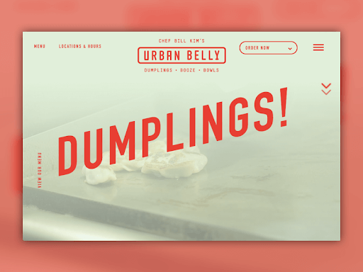 "Screenshot of Urban Belly's website saying ""Dumplings!"""