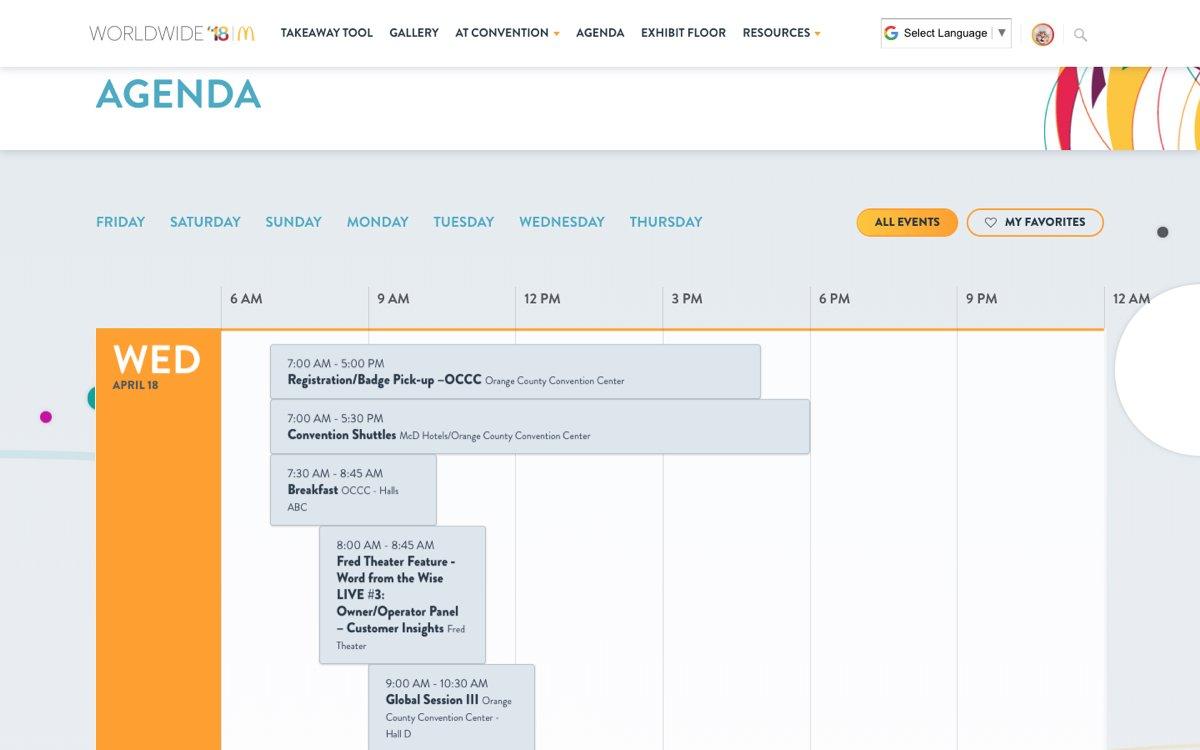 McDonald's Worldwide website agenda screen example