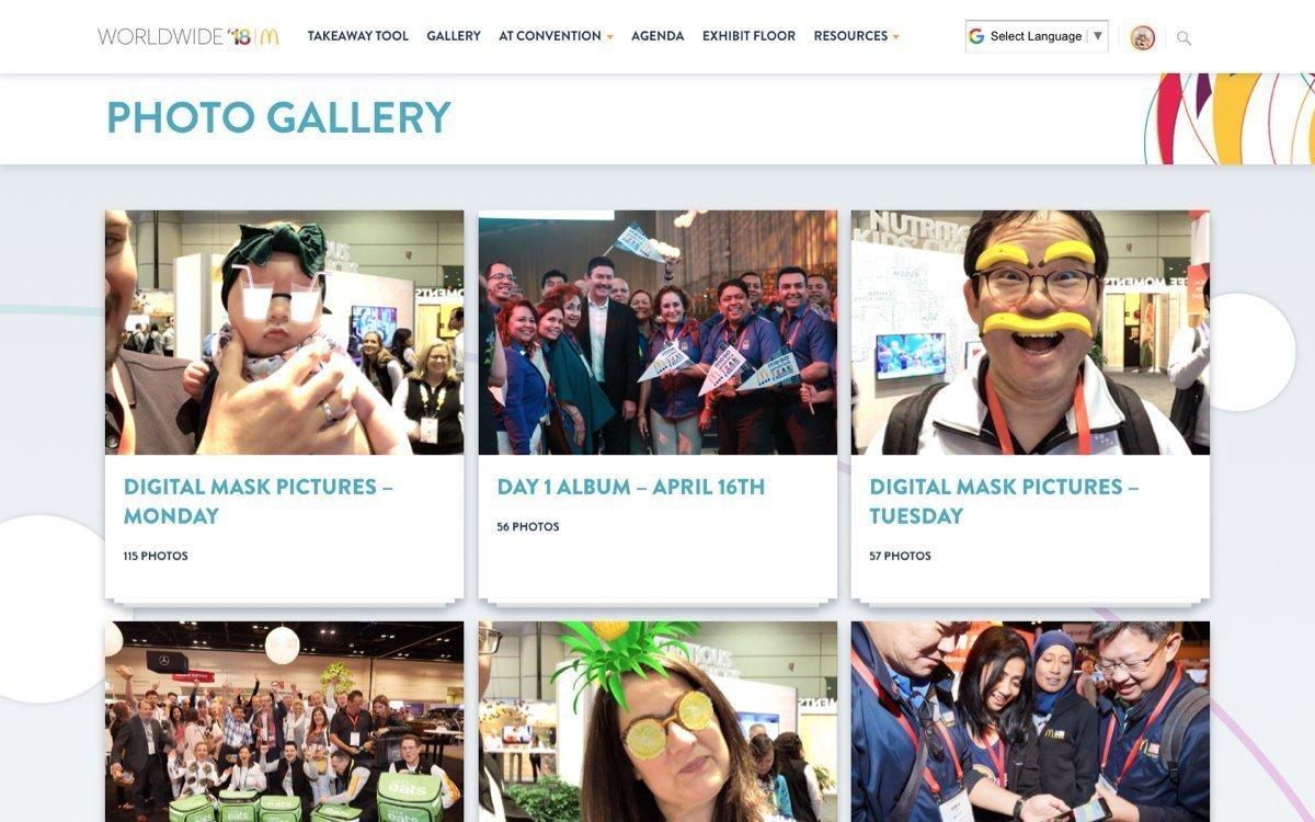 McDonad's Worldwide website photo gallery page