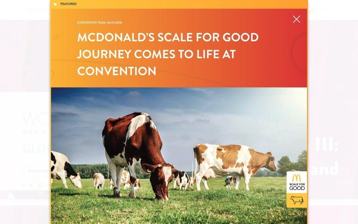 McDonad's Worldwide website featured news post