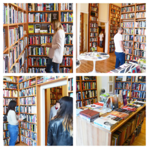 A collage of Clique team members shopping for books at Dial Bookshop