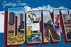 """Piece of artwork that says """"Greetings from Denver"""""""